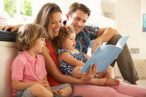 parents reading books to kids